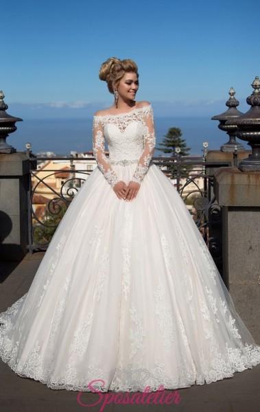 abito da sposa romantico modello principessa on line economici con scollo a barca