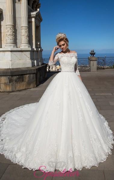 abiti da sposa modello principessa on line economici con scollo a barca