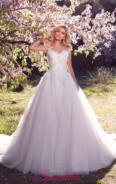 abiti da sposa a prezzi accesibili colore corpetto avorio e gonna rosa