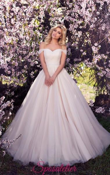 abiti da sposa rosa con scollo a barchetta vendita online
