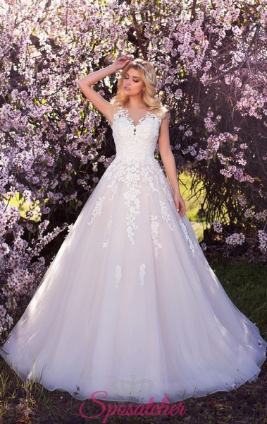 abiti da sposa on line  con gonna rosa nuovo modello collezione 2018
