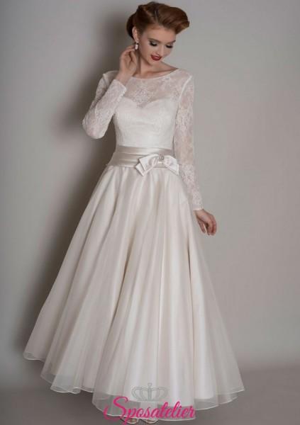 abiti da sposa longuette con gonna a ruota in stile vintage