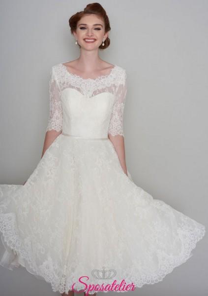 abiti da sposa corto economico online in pizzo elegante