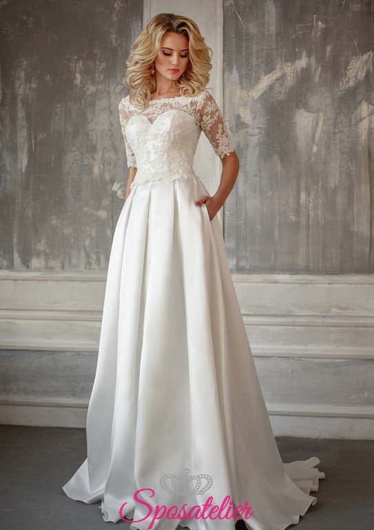 ef79009b4d99 abito da sposa con scollo a barchetta e gonna in raso on line economici  italiani
