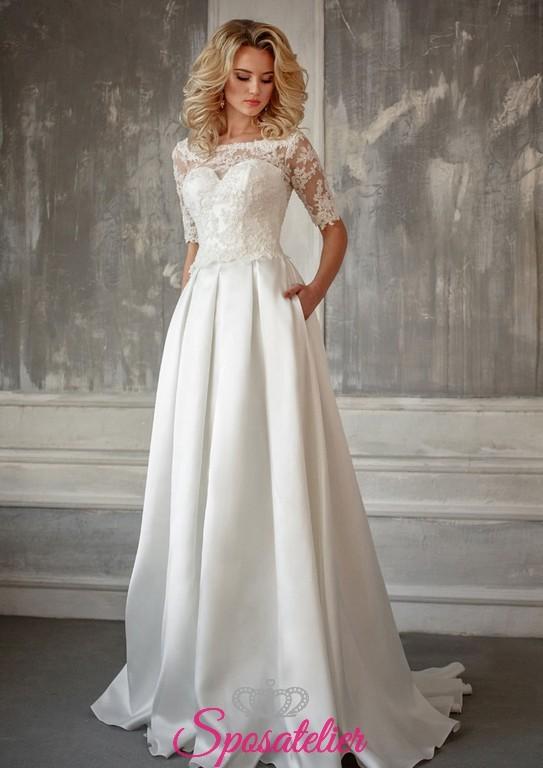 43bbd1fc192c abito da sposa con scollo a barchetta e gonna in raso on line economici  italiani
