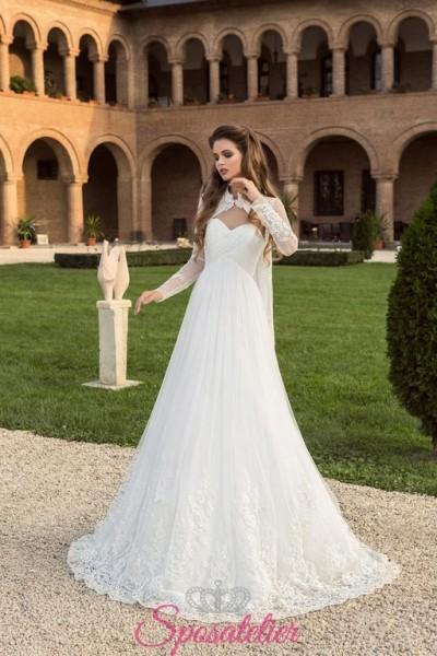 abito per sposa 2018 con coprisaplle on line a prezzi economici