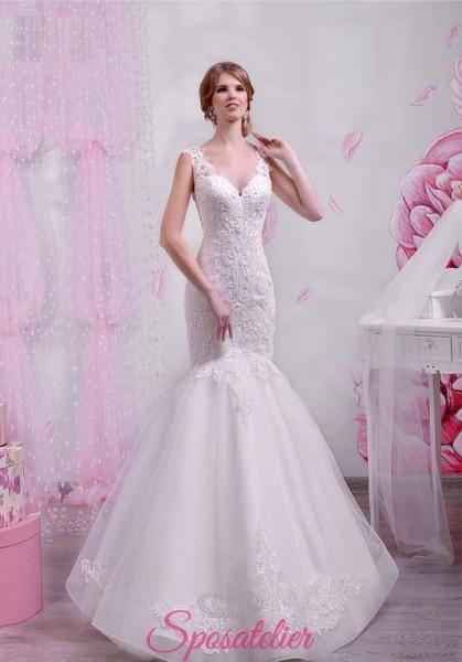 vestito da sposa a sirena in pizzo molto sexy nuova collezione 2018