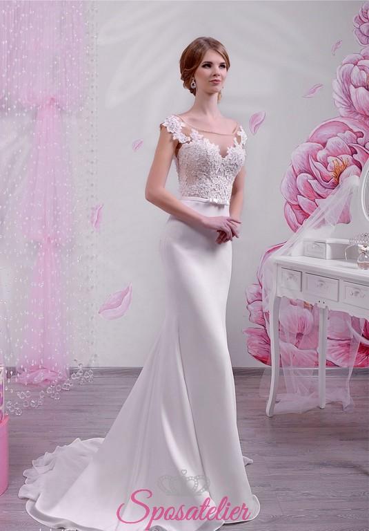 marchio famoso buona qualità up-to-date styling abiti da sposa con corpetto in pizzo e gonna in chiffon collezione 2018