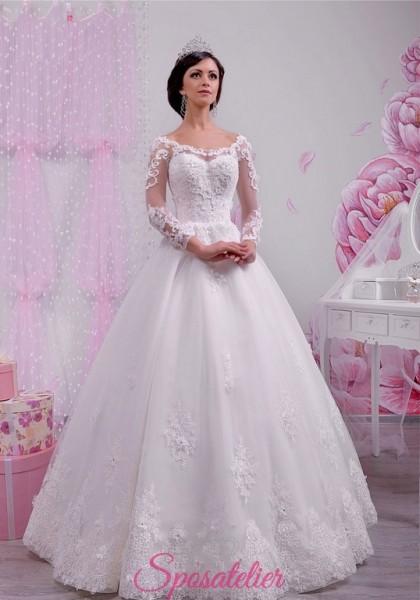 abito per sposa 2018 scollo a cuore da principessa con maniche lunghe