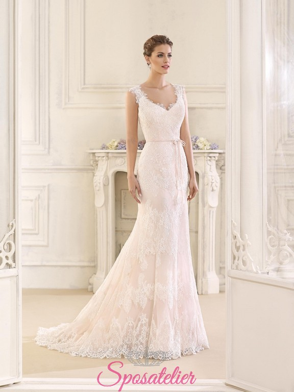74a6e6a30be8 abiti da sposa nuovi in pizzo in stile vintage online 2018 prezzi economici