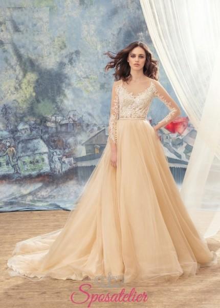 abiti da sposa colorati bicolore su misura sartoria online