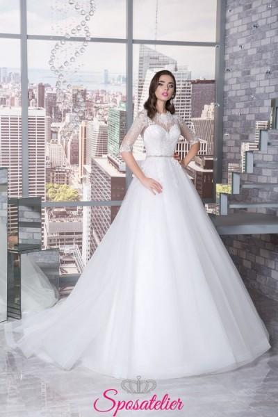 abiti da sposa sartoriali online di altissima qualità con scollo omerale