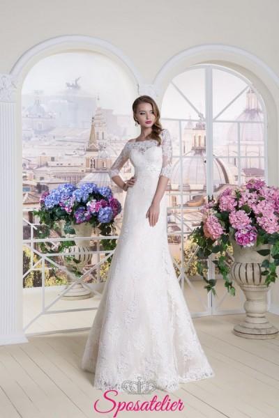abito da sposa nuove tendenze 2018 scollatura a barca ricamato