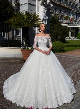 abiti da sposa 2018 nuove tendenze scollo a barchetta economici