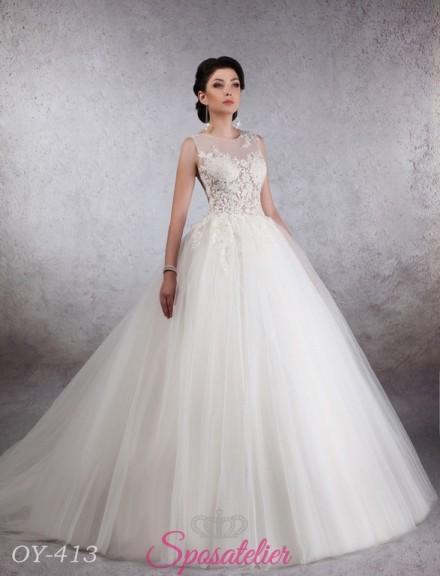 abito da sposa principesco da sogno con corpetto ricamato in pizzo