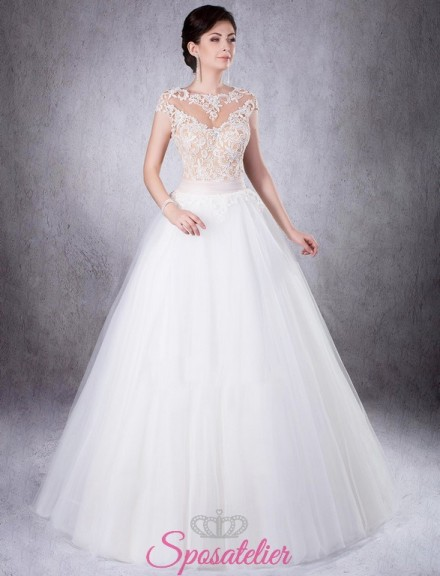 abito da sposa con corpetto colorato in pizzo vendita online
