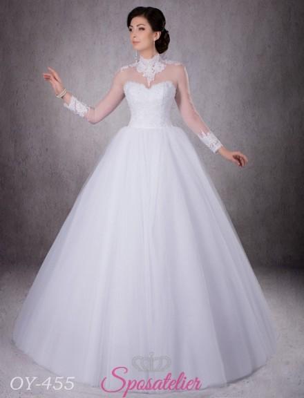 abito da sposa con collo alto in pizzo ricamato vendita online