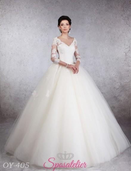 abito da sposa principesco con maniche lunghe in pizzo modelli 2018
