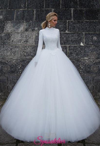 offerta abiti da sposa con maniche lunghe e collo alto autunno inverno