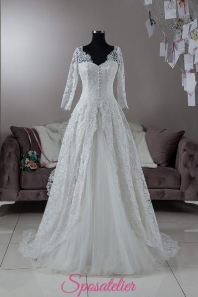 abito da sposa autunno inverno con maniche lunghe