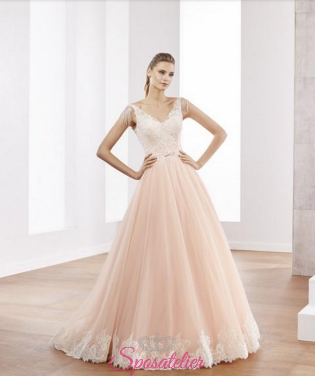 fda70252c2d2 abiti da sposa due colori rosa con orlo di pizzo bianco delicato