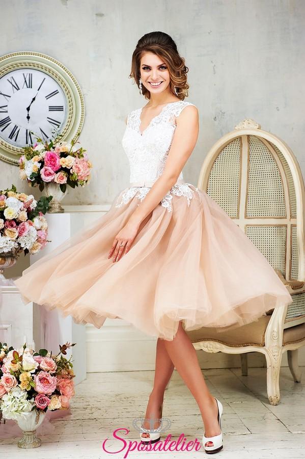 abiti da sposa corti e colorati online economico 2018 alta qualità