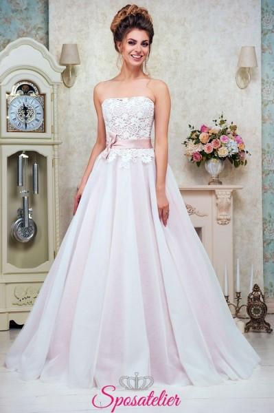 abito da sposa romantico con cintura rosa collezione 2018