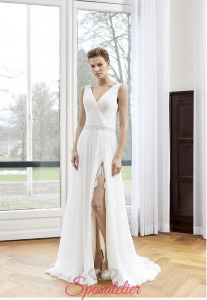 abito da sposa stile impero con spacco leggero collezione 2018