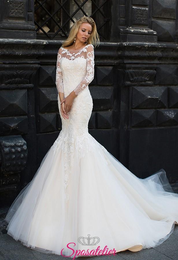 abito da sposa a sirena con coda strascico sartoriale collezione 2018