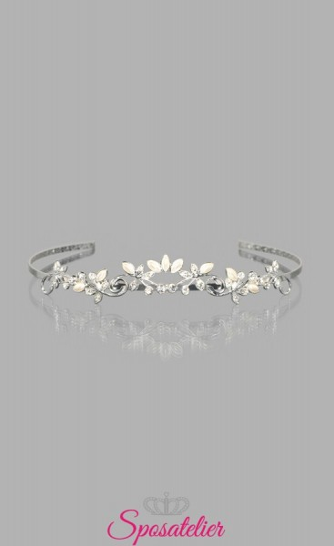 tiara sposa con perle e strass vendita online collezione 2018