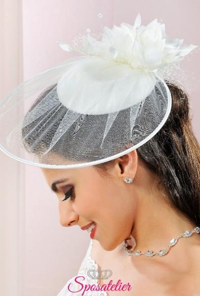 cappellino da sposa online 2018 in raso e tulle ricamato a mano