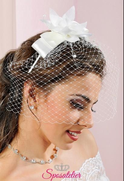 Fermacapelli con retina di tulle da sposa online