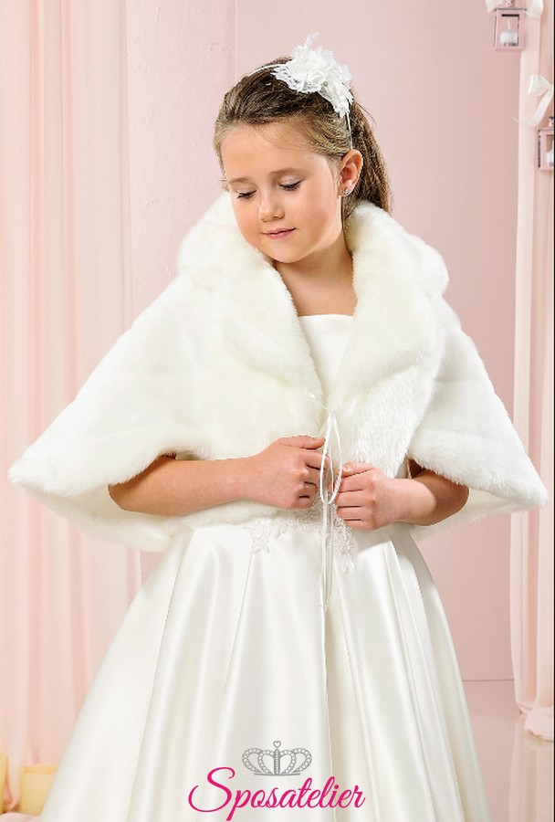 bolero di pelliccia ecologica bambina prima comunione elegante 865b4af64b8