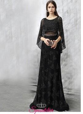 abiti da damigella lunghi nero elegante decorato con strass