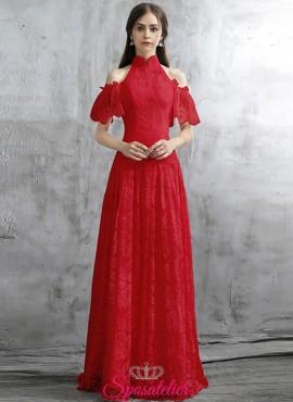 abiti da damigella novità 2018 ricamato in pizzo rosso o rosa