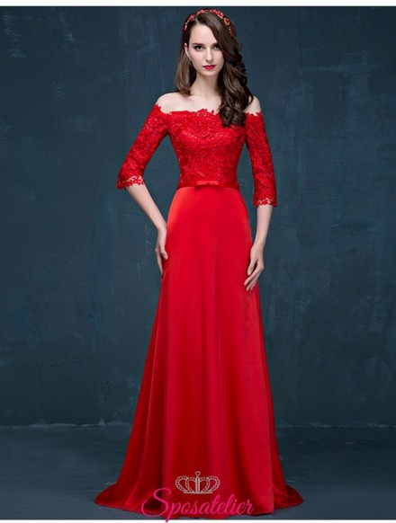 abiti da cerimonia economici online 2018 rosso con scollo a barchetta