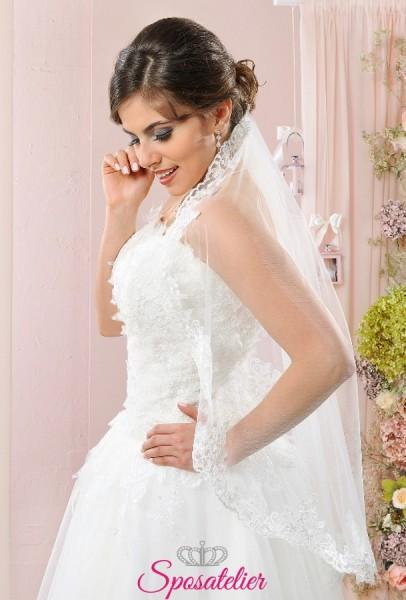 velo da sposa corto online ricamato in pizzo sartoria italiana