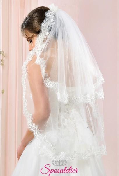 velo da sposa corto online con calata ricamato in pizzo