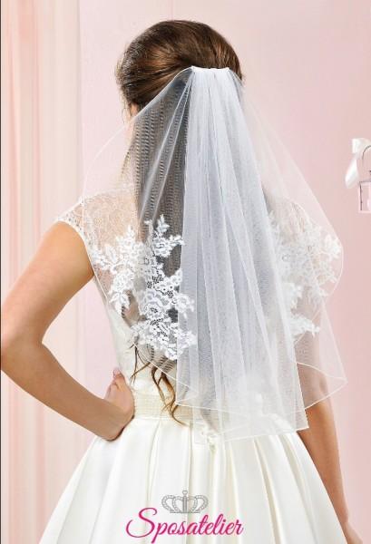 velo da sposa corto con applicazioni di pizzo economico online 2018