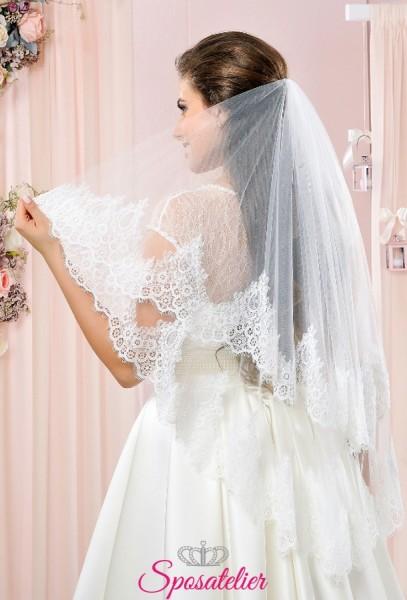 velo da sposa due strati di tulle con orlo in pizzo collezione 2018