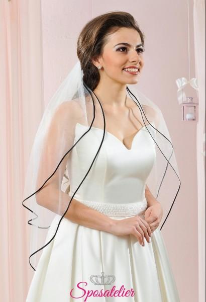 velo da sposa particolare con bordo in raso nero