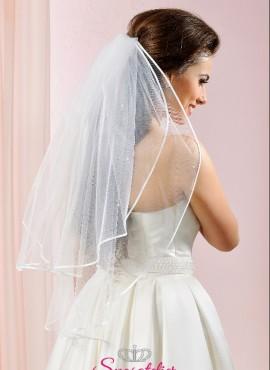 velo da sposa corto con bordo in raso decorato a mano con 30 perle