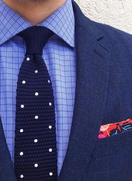 cravatta tricot a pois colore blu