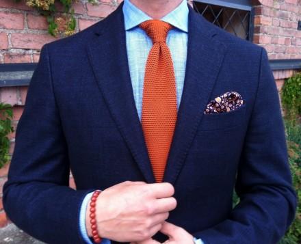 cravatta tessuto maglia tricot arancione