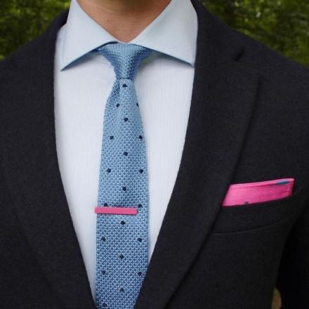 cravatta tessuto maglia celeste a pois