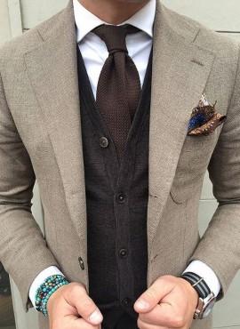 Cravatta tricot marrone