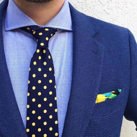 cravatta jacquard a pois gialli