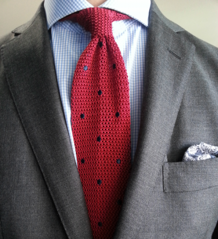 cravatta tricot rossa a pois