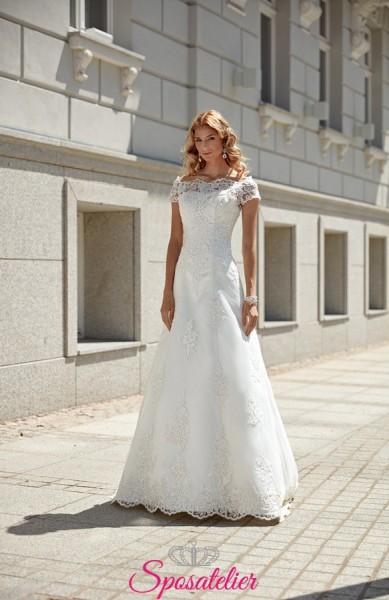 Vestito da Sposa online Economico con scollo a barca e mezze maniche