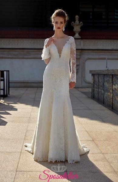 abito da sposa mezza sirena con scollo profondo trasparente online